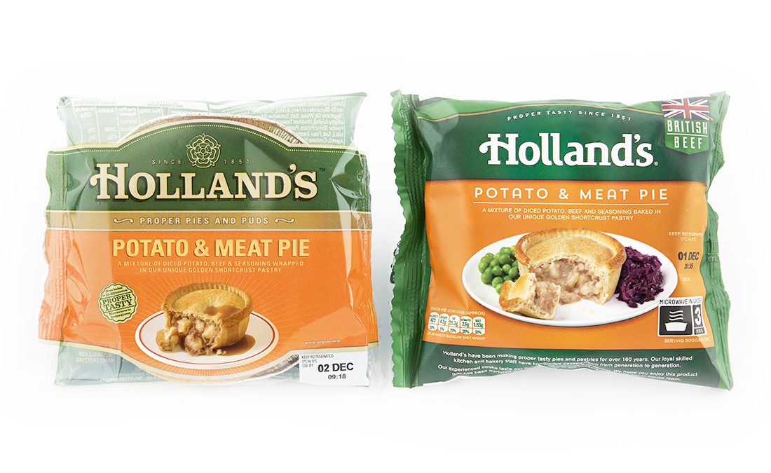 Hollands pies packaging before and after