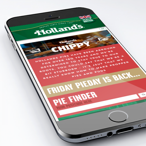 holland's pies website design mocked up on iphone 6