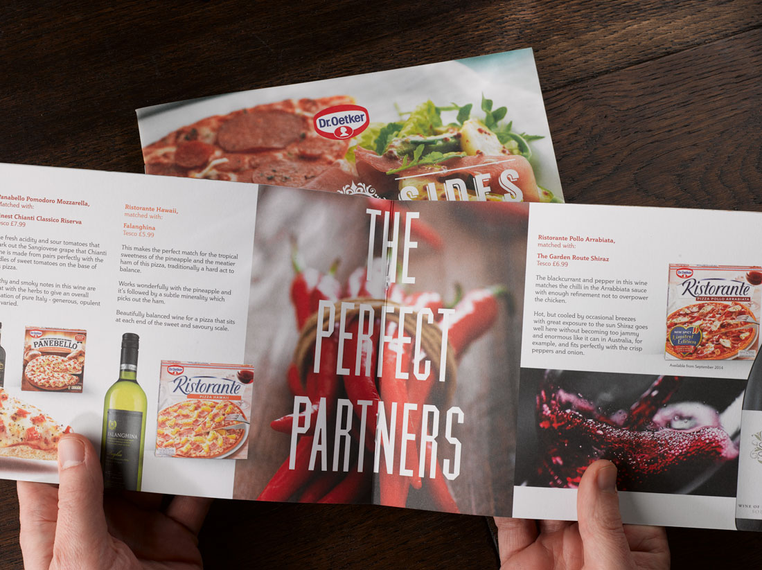 Dr Oetker Pizza and Wine guide photographed on dark wood 2