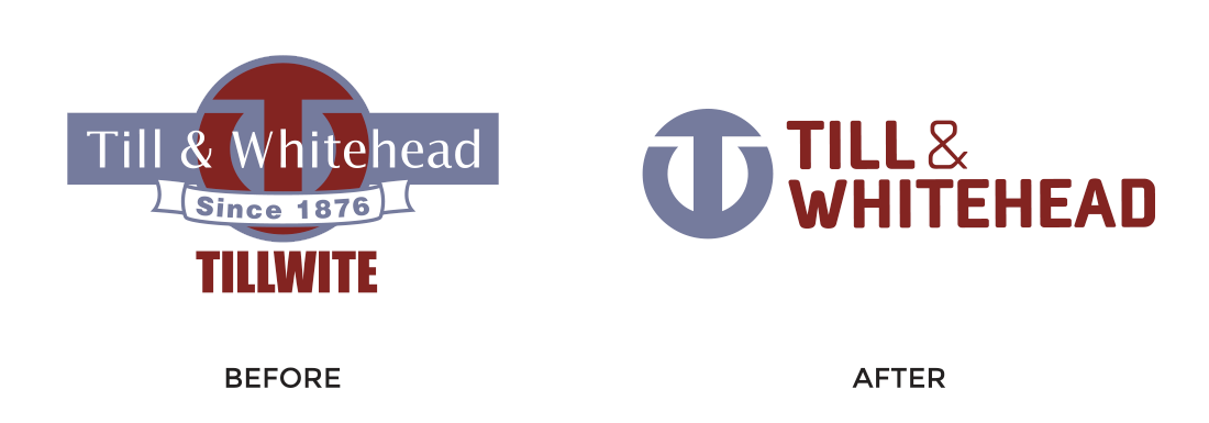 Till & Whitehead logo -before and after