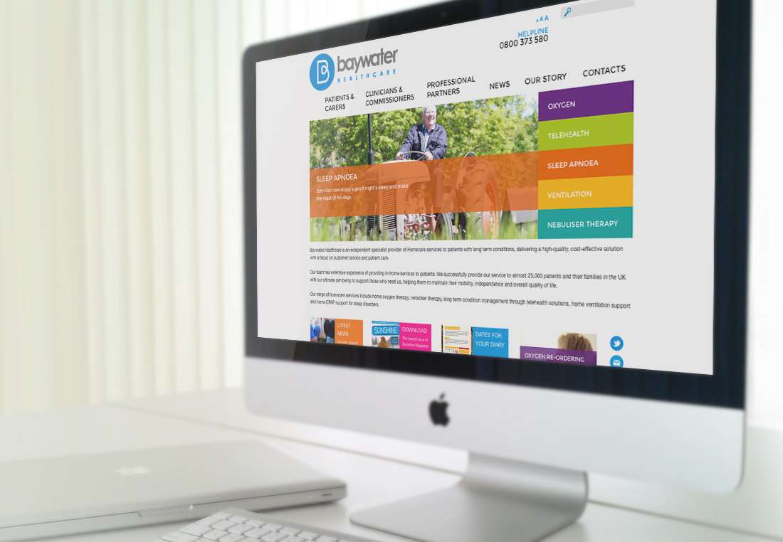 Baywater Healthcare website presented on an iMac screen