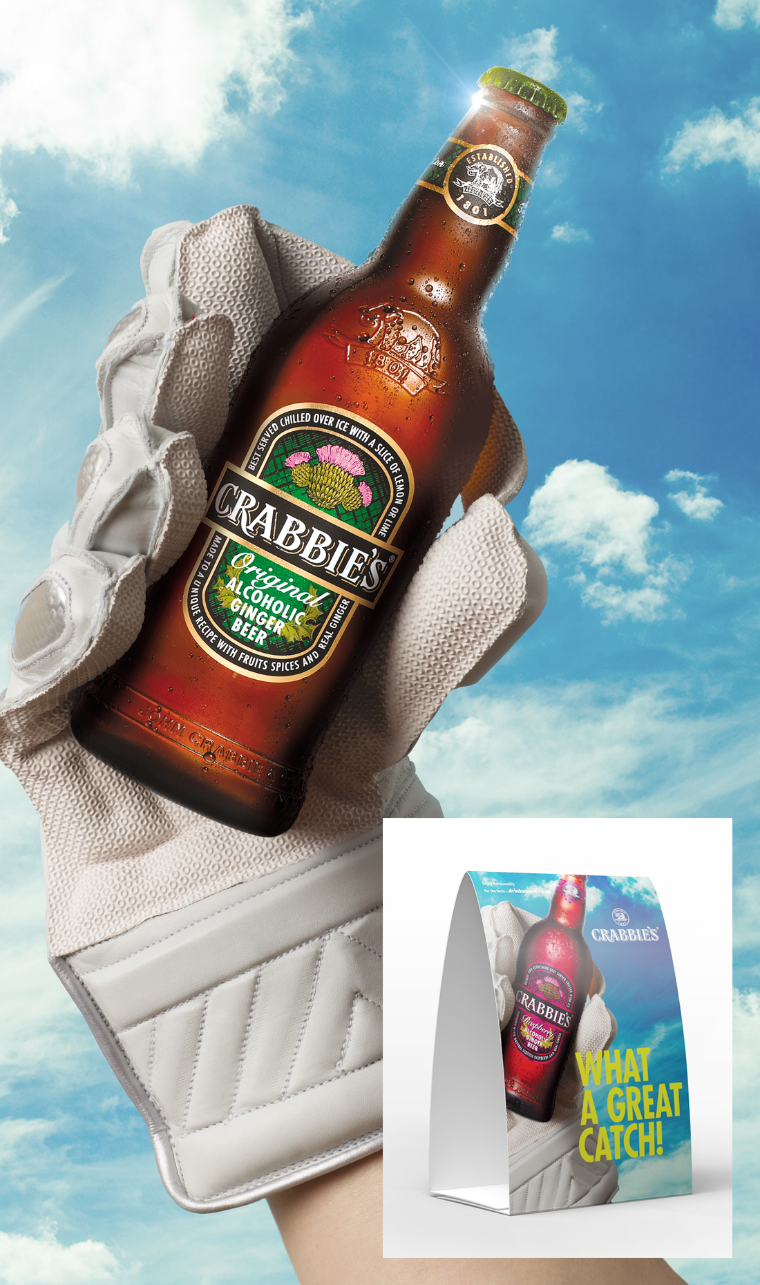 crabbies in cricket glove with tent card