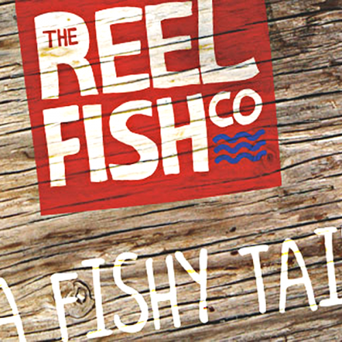 reel fish logo on wood featured