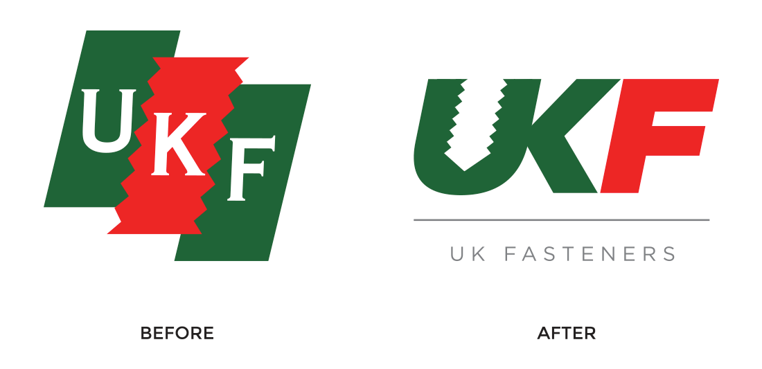 UK Fasteners logo -before and after