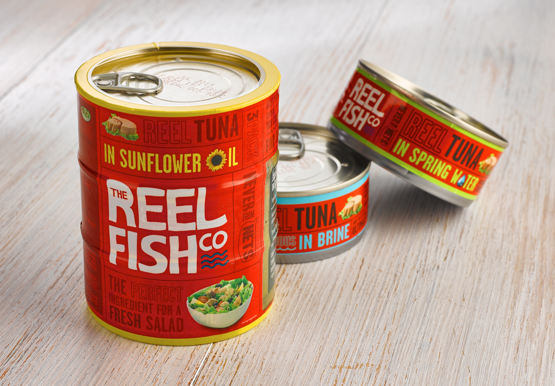 reel fish tuna shrink wrap and cans separate