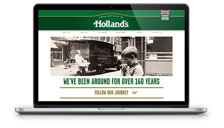 Hollands Pies website mocked up on macbook pro