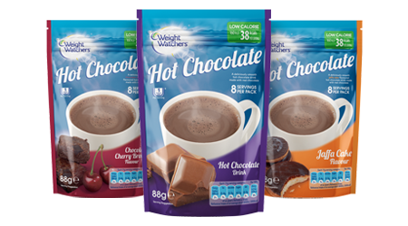 Weight Watchers hot chocolate pouches, 3 flavours